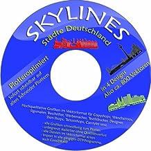 Vektoren CD / DVD 2 - 200 Skylines Städte Deutschland in 4 Designs 800 Stück für Wandtattoos, Aufkleber, Textildruck