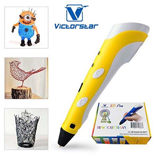 VICTORSTAR @ Stylo Impression 3D – RP100A Portable – Jaune + Blanc pour Le Dessin 3D et griffonner + Adaptateur + ABS Filament / Le Cadeau idéal pour Les Enfants