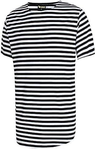 Pizoff Unisex Hip Hop Urban Basic langes T Shirts mit bretonischen Streifen mit rundem Saum Y1724-Black-M