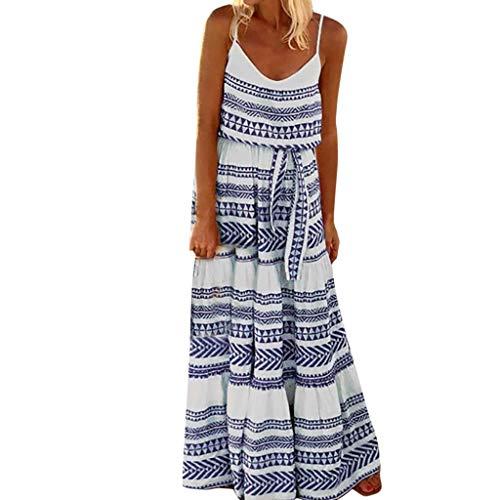 MAYOGO Kleid Damen Sommer Bodenlang Große Größen Boho Gestreift Spagettiträger Maxikleid Rückenfrei Sexy Urlaub Casual Sommerkleid (Kleid Erwachsene Für Frozen)