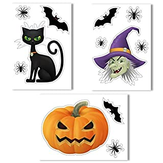 Halloween Window Clings by Articlings - Witches Head, Pumpkin, Black Cat, Bats, and Spiders - Non-adhesive Stickers - Quickly Decorate your Windows