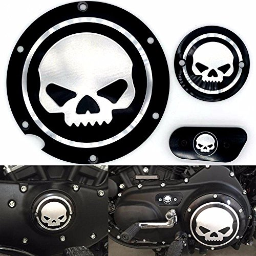 Frenshion Motorcycle Chrome Skull Timing Accessories Motor Derby Timer Cover for Harley Sportster XL 883 1200 IRON 04 (Pack of 3)