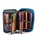 Ainrenz Federmäppchen, 72 Schlitze, PU-Leder, handliche Bleistifttasche mit Reißverschluss, super große Kapazität, für Prismacolor Premier Buntstifte, Crayola Buntstifte, blau