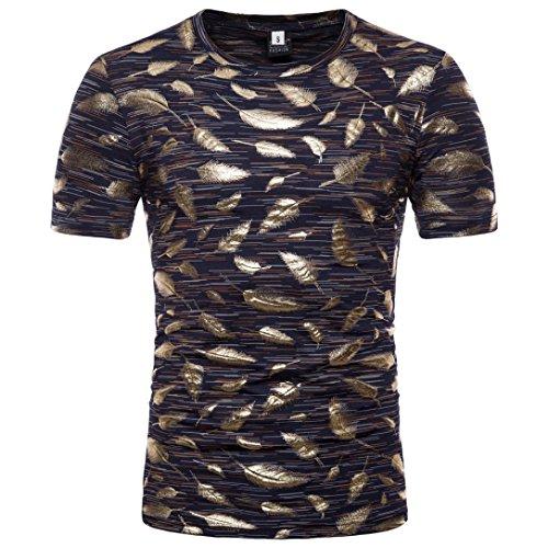 T-Shirt Herren Persönlichkeit Slim Gold Feder Print Kurzarm,Marine Gold,M