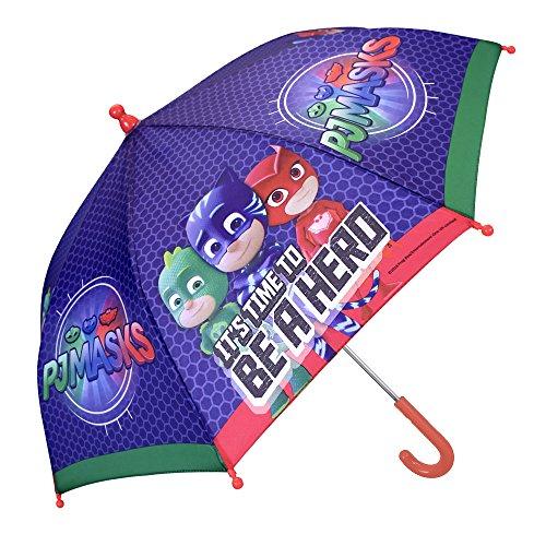Ombrello Bambino Blu Super Pigiamini - PJ Masks con Greg Amaya e Connor - Ombrello Lungo Colorato da Bimbi con Apertura Manuale di Sicurezza - 3/5 Anni - Diametro 66 cm - Perletti