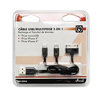 arcoll 12092Kabel USB Steckdosenleiste 3in 1Für iPhone 4/5Multi Farbe