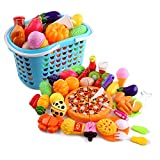 Einkaufskorb Kinder, CT-Tribe 40St Obst und Gemüse zum Schneiden Kinderküchen Zubehör Kaufmannsladen Einkaufskorb Spielzeug Lebensmittel Obst Gemüse Spielzeug