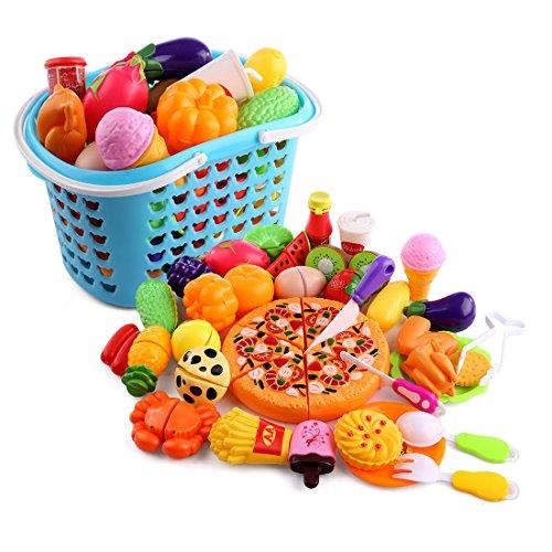 OviTop 40er Set Einkaufskorb Kinder Obst und Gemüse zum Schneiden Rollenspiel Kinderküchen Spielzeug Zubehör Frühkindliche Bildung