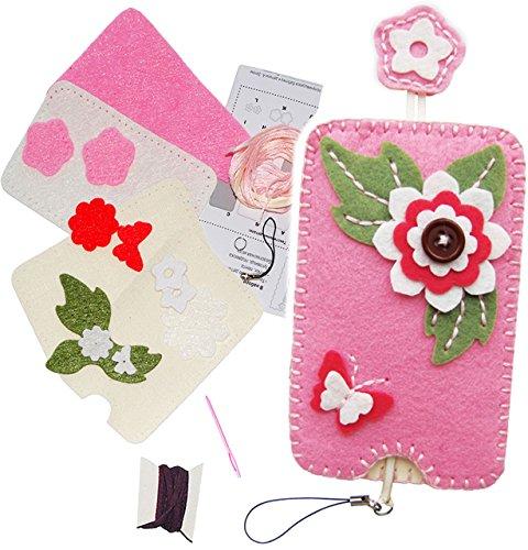 alles-meine.de GmbH Bastelset - Filz - Handytasche / Handyhülle -  3-D Blumen & Blüten  - Smartphone Hülle - ALLE Größen ! zum Sticken, einfaches Nähen per Hand - Handy - Kompl..