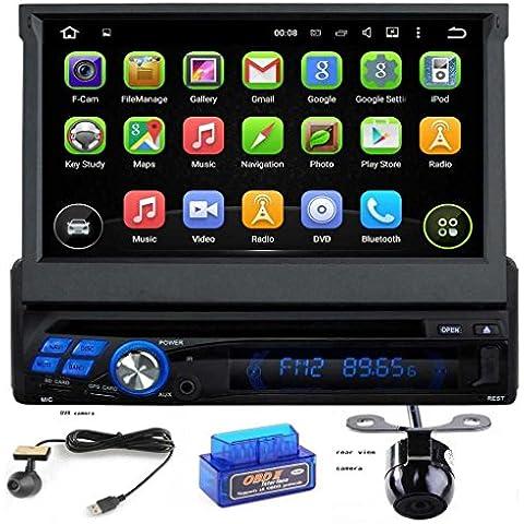 7 pulgadas de pantalla táctil capacitiva Android OS 5.1.1 Lollipop Individual Din Radio Universal coche con 1.6G de la corteza A9 Quad Core CPU 16G y 1G DDR3 RAM flash GPS Radio Reproductor de DVD Entrada auxiliar OBD2 USB/SD