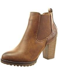 Sopily - Zapatillas de Moda Botines chelsea boots A medio muslo mujer piel de serpiente Talón Tacón ancho alto 8.5 CM - Camel