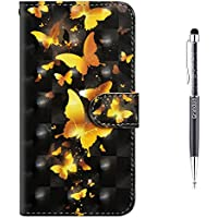Grandoin iPhone 6S Case,iPhone 6 Case, Premium PU Leather Magnetic Flip Cover with Card Slots Holders [Soft Silicone Inner] Bookstyle Wallet Case For Apple iPhone 6S /6 4.7 Inch (Yellow Butterfly)