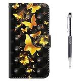 Grandoin Huawei Y5 2018 Hülle, Handyhülle im Brieftasche-Stil für Huawei Y5 2018 Handytasche PU Leder Flip Cover 3D Bunte Muster Book Case Schutzhülle (Gelber Schmetterling)