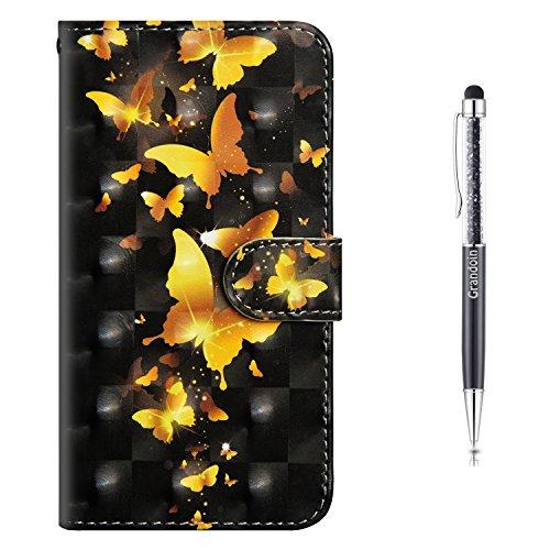 Grandoin Nokia 8 Sirocco Hülle, Handyhülle im Brieftasche-Stil für Nokia 8 Sirocco Handytasche PU Leder Flip Cover 3D Bunte Muster Book Case Schutzhülle (Gelber Schmetterling)