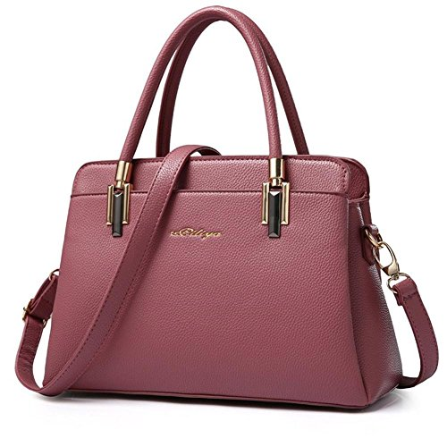 HQYSS Borse donna Cuoio Sweet Lady Messenger Shoulder Handbag OL solido di colore goffrato Tote Bag , deep gray rubber powder
