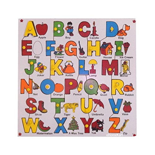 ABC Alphabet with Pictures - Wooden Jigsaw Puzzle Toy - Learning & Educational Gift for Kids
