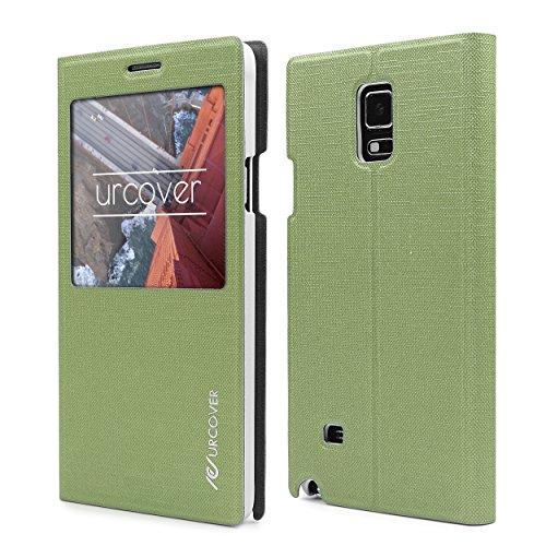 Urcover View Case kompatibel mit Samsung Galaxy Note 4 Hülle, Wallet mit [ Standfunktion ] Schutzhülle Case Cover Etui Ständer Aufsteller Handyhülle Tasche Grün (Samsung Note 4 Flip Case S-view)