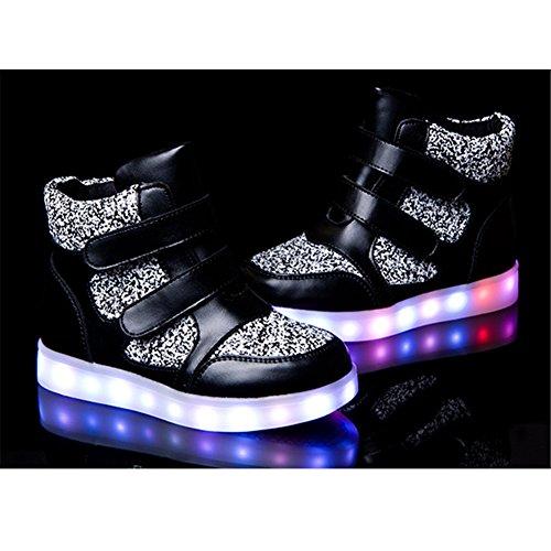 Alto Da Para Carga Meninas Em Meninos Sapatos Luminosos Miúdos Sapatos top Piscando Negros Sapatilhas 7 Led De Usb Cores Mudança Cor UI1qaI7