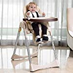 Vélu Soft Leather Foldable Baby Highchair │ Fully Adjustable, 3 Levels Footstep, Compact, Removable Tray, Safety Belts…