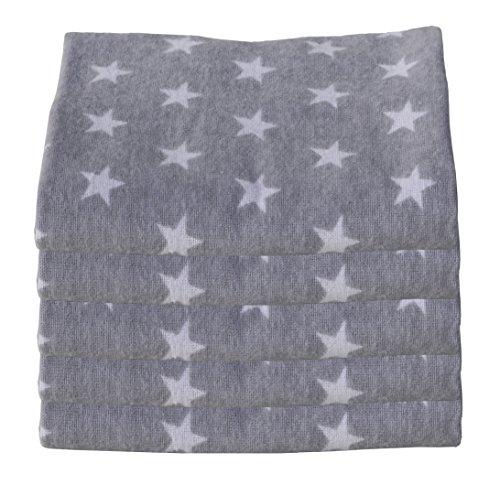 ClevereKids Molton Flanellwindeln Sterne und Punkte 5er Pack gebürstete Baumwolle Ökotex Standard 100 flauschige Kuschelqualität (Best Star hellgrau-weiß)