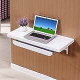 Wandklappbarer Laptop-Tisch mit Tastaturablage Klappbarer Tisch für kleine Räume Tischcomputer aus Holz für Heimarbeitsplätze (Farbe : Weiß, größe : 80cm)