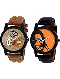 Xforia Boys Watches Brown & Orange Color Dial Watch For Men Stylish Pack Of 2 (RG-FLX-12)