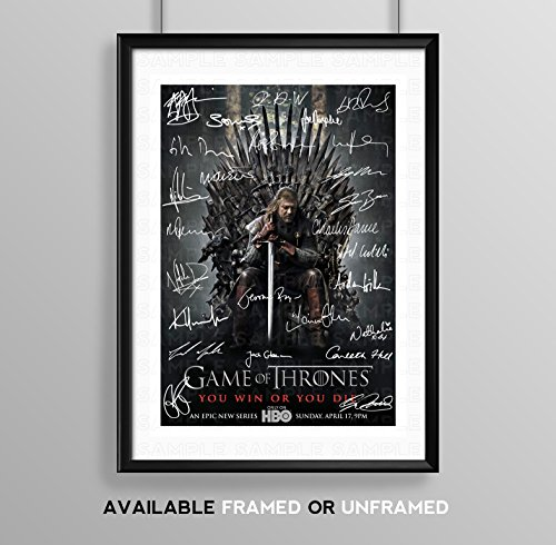Game Of Thrones Full Cast Signed Autograph Signature A4 Poster Photo Print Photograph Artwork Wall Art Picture TV Show Series Season DVD Boxset Present Birthday Xmas Christmas Memorabilia Gift (BLACK FRAMED & MOUNTED)