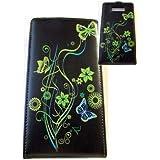 Etui Housse protection à rabat pour LG L7 Optimus L 7 Motif 2 Floral vert