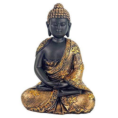 Statua Buddha h 16 x 8 x 12 cm Meditazione in poliresina Abiti Decorati con fior di Loto