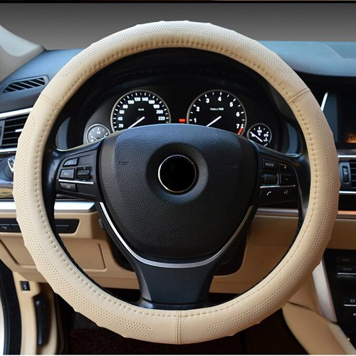 Semoss Universal Anti Rutsch Atmungsaktive Lenkradbezug Echt Leder Lenkradhülle Lenkradabdeckung Lenkradschoner Auto,Farbe:Rice,Dimension:37-38cm