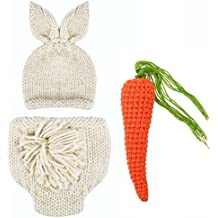 Domybest Baby Newborn Photography Props Rabbit Costume Ears Hat+Shorts+Carrot Studio Clothes