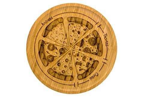 SNEG Pizzateller/Servierteller aus 32cm aus Holz (Bambus) mit lustiger, persönlicher Gravur und Pizza-Motiv