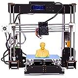 3D Drucker, CTC A8-W5 Pro Aviation Holz LCD-Bildschirm Desktop DIY 3D-Drucker Selbstmontage Druckmaschine Kit mit 1.75mm ABS/PLA Drucker Filament (Plattformgröße 200 * 200 * 180mm) (DIY 3D Drucker)