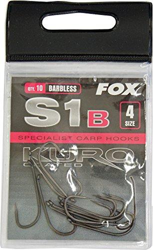 FOX Kuro S1 Series barbless - 10 Karpfenhaken zum Angeln auf Karpfen, Angelhaken zum Karpfenangeln, Haken, Einzelhaken ohne Widerhaken, Größe:4