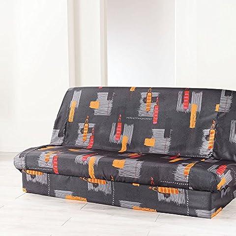Douceur d'Intérieur Housse de Clic Clac Imprimé Jaya Polyester Anthracite 195 x 70 x 65 cm