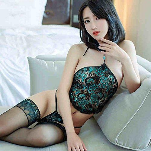 Fei Mu Sexy Dessous Adult Schürze Anzug Frauen Große DREI-Punkt-Perspektive Pyjamas Enthält Adult (Farbe : Apron+T Pants+Stockings)