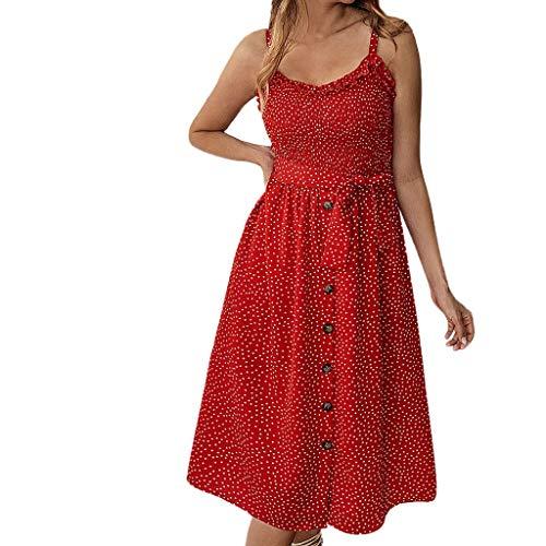 iHENGH Damen Sommer Rock Lässig Mode Kleider Bequem Frauen Röcke Frühling und Sommer Mode lässig Print Polka Dot gekräuselten Kleid mit Knöpfen(Rot, S) (Polka-dot-kleid Weiß Mit Roten)