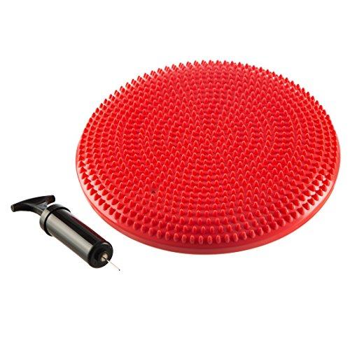 Ultrasport Ballsitzkissen orthopädisch / Balance Kissen mit Noppen, phtalatfrei - Noppenkissen inklusive Luftpumpe, als Bürostuhlunterlage oder für Gymnastik, Rot, 33 cm