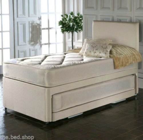 Show Me Cheaper 3ft Single Pull Out Trundle Divan Guest Bed With Quilted Mattresses And Headboard