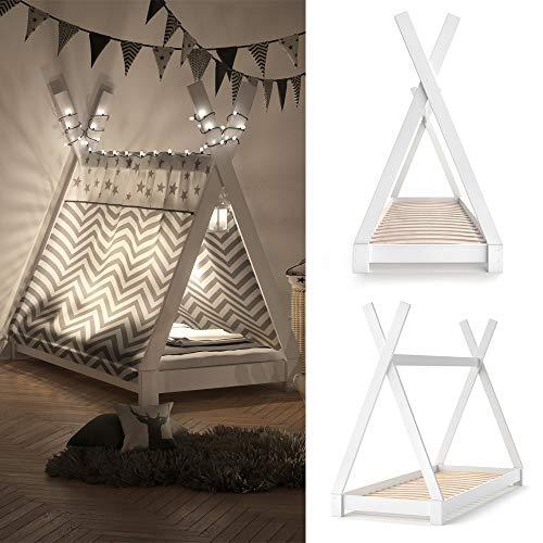 Vicco Kinderbett TIPI Kinderhaus Indianer Zelt Bett Kinder Holz Haus Schlafen Spielbett Hausbett 80×160 (Weiß) - 2