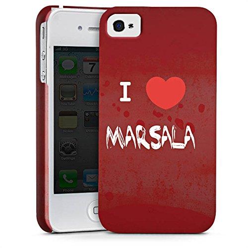 Apple iPhone X Silikon Hülle Case Schutzhülle I love Marsala Herz Spruch Premium Case glänzend