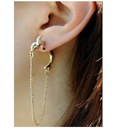Ohrring Fake Plug Piercing Delfin Ear Cuff Ohr-Stulpe Ohrstecker Ohrklemme Ohrschmuck