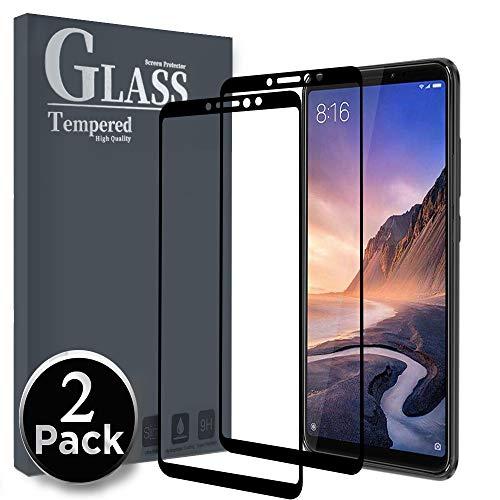 Ferilinso Cristal Templado para Xiaomi Mi MAX 3, [2 Pack] [Cobertura Completa] Estuche Libre de Burbujas Película Protectora de Protector de Pantalla (Negro)