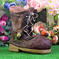 Shabby Brown Boot Planter Resin Flower Plant Pot Garden Ornament Decorative Vase Indoor Outdoor GIFT