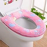 TAOtTAO Toilet Cover Badezimmer-Warmer-Toiletten-Sitz-Stoff-Weiches Closestool waschbarer Deckel-Oberseiten-Abdeckungs-Auflage (Rosa)