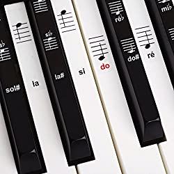 Belfort®️ Autocollants pour notes de piano + clavier pour 49 | 61 | 76 | 88 touches + Ebook gratuit | kit complet premium pour touches noires + blanches | do-ré-mi-fa-sol-la-si | instructions français