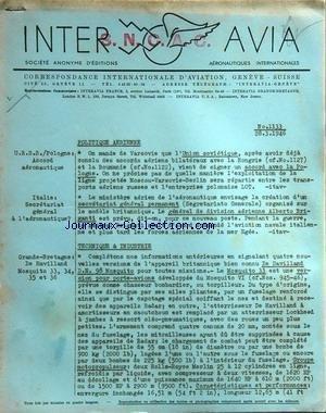 INTER AVIA [No 1133] du 28/03/1946 - politique aerienne - urss et pologne, accord aeronautique - italie , secreatariat general a l'aeronautique technique et industrie -grande-bretagne , de havilland mosquito par Collectif