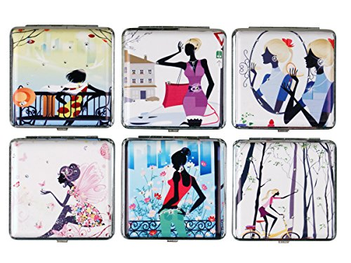 2 x Damen Zigarettenetuis Young Lady mit Strasssteinen und Gummiband - 2 Verschiedene Designs mit Strass ✔️