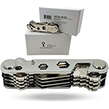 KEYTEC Compact Key Organizer (12-16 Keys) - Holder With Built-In Tools - Bottle Opener/Phone Stand - Gold Frame Plus Anti Loosening Washer - Great Gift