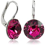 Ohrringe mit Kristallen von Swarovski® Silber Pink Magenta- Made in Germany - NOBEL SCHMUCK
